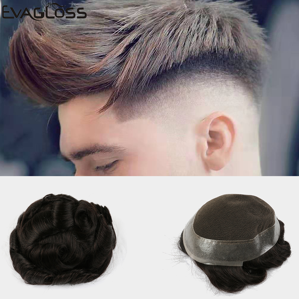 EVAGLOSS Toupee Hair Mens Swiss Lace PU Around Prosthesis Mens Wigs Hair Replacement System Pure Handmade For Men Wigs