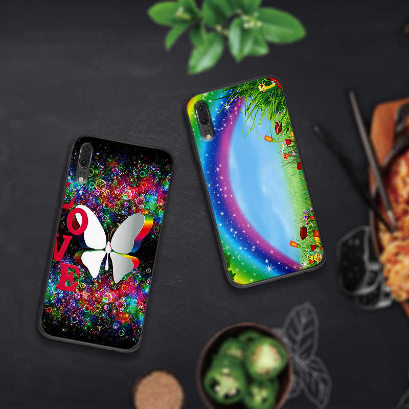 Pour Huawei P10 P20 2019 P8 P9 Mini P30 LITE pour Huawei P Smart Z 2018 P20 Pro couverture arc-en-ciel bonbons étuis de téléphones portables