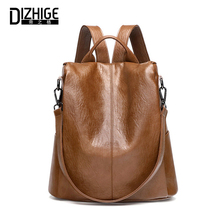 DIZHIGE Brand Genuine Leather Backpack Women High Quality School Bags For Teenager Girl Luxury Female Zipper Anti Theft