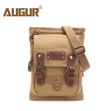 AUGUR Male Small Canvas Crossbody Bag Multifunction Tool Functional Bag