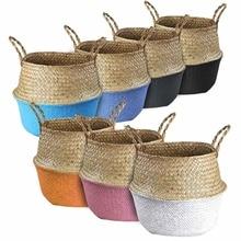 Storage Baskets Seagrass Baskets Wicker Hanging Flower Pot Baskets Flower Home Pot panier osier basket for toys Dirty Laundry