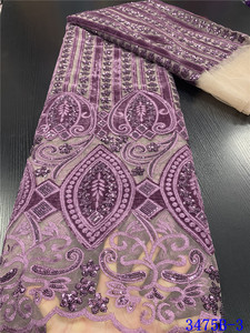 Image 3 - Горячая Распродажа бархатная кружевная ткань 2020, Высококачественная африканская кружевная ткань с блестками, французская кружевная ткань для вечернего платья APW3475B