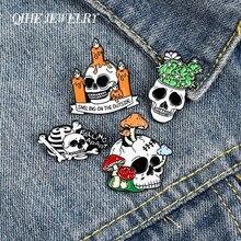 Ossos decadentes esmalte lapela pinos cogumelo cactus vela & broches crachás moda pinos presentes para amigo jóias atacado