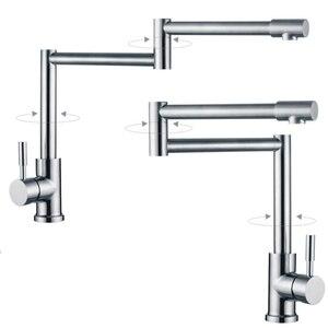 Image 3 - BAKALA 304 Stainless Steel Lead free Folding Kitchen Faucet Mixer 360 Degree Swivel Single Handle Nickel Kitchen Sink basin Taps