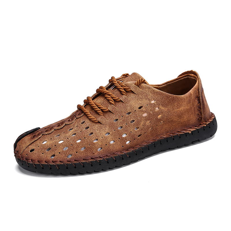 Hot  Summer Soft Men's Casual Shoes Breathable Leather Handmade Loafers Brand Men Italy Rome Shoes Flat Moccasins Men Sneakers