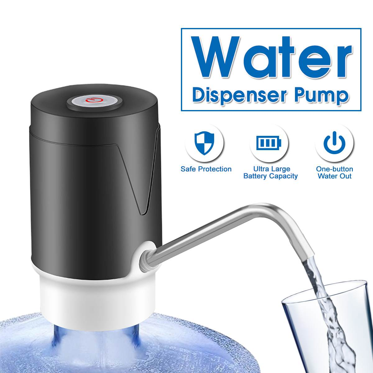 Electric Water Dispenser Bottle Drinking Water Pump Gallon USB Charging Portable Switch For Home Water Treatment Appliances