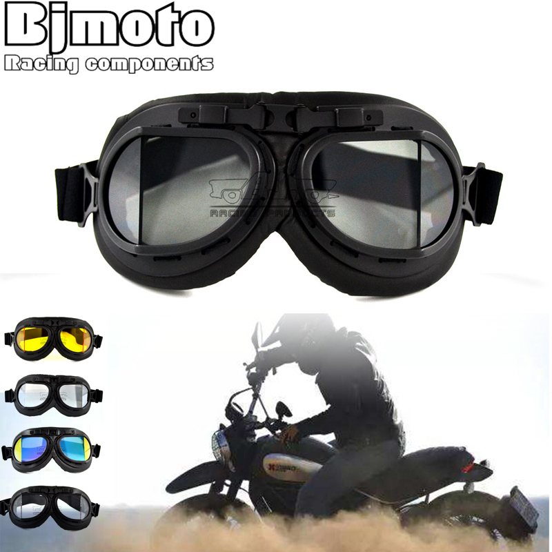 BJMOTO Motocross MX GOGGLES Retro Glasses WWII VINTAGE PILOT For MOTORCYCLE BIKER CRUISER HELMET Anti-UV gafes ATV Bike Off-Road