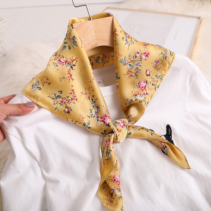 Elegant Kerchief Women Neck Scarf For Hair Floral Print Silk Satin Head Scarfs Female 70cm*70cm Small Shawls Scarves For Ladies