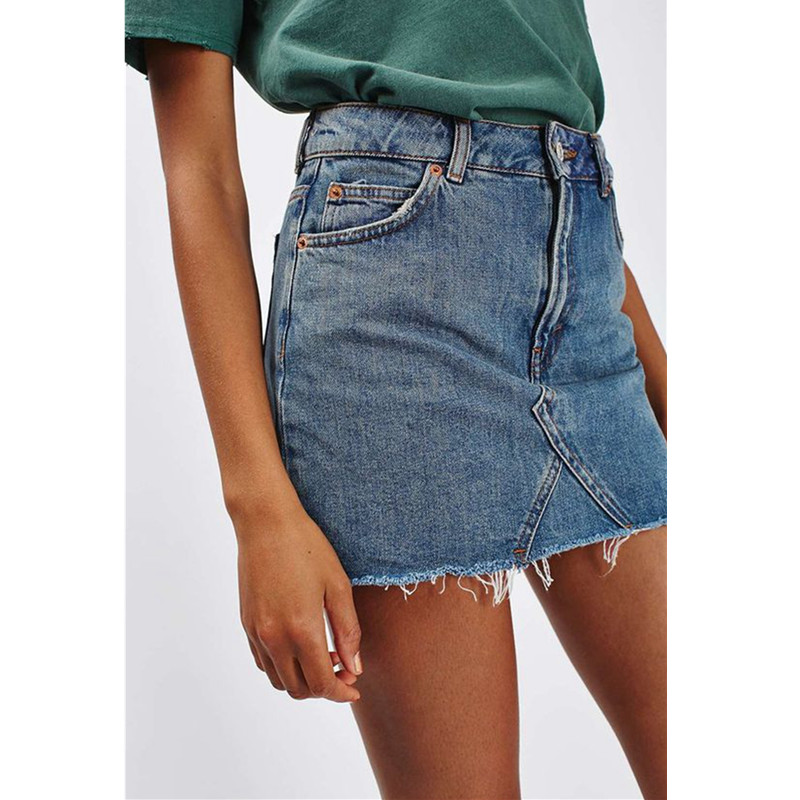 Women Summer Black Casual High Waist A-line Mini Skirts Denim Skirts High Street Pockets Button All-matched Saias Jeans Skirt