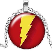 2019 New Movie Surrounding Yellow Lightning Badge Necklace Jewelry Pendant Crystal Convex Round Glass Childrens Gift