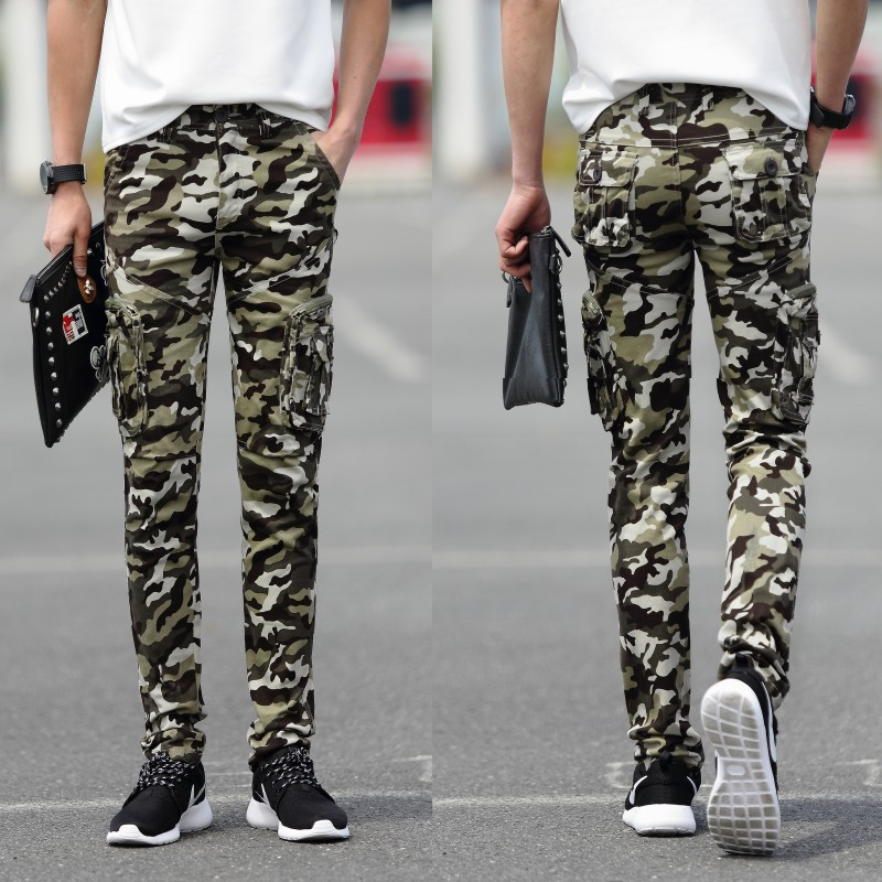 2019 New Products Japanese Korean Hot Models Multi-pockets Skinny Slim Fit Elasticity Workwear Outdoor Mountain Climbing Camoufl