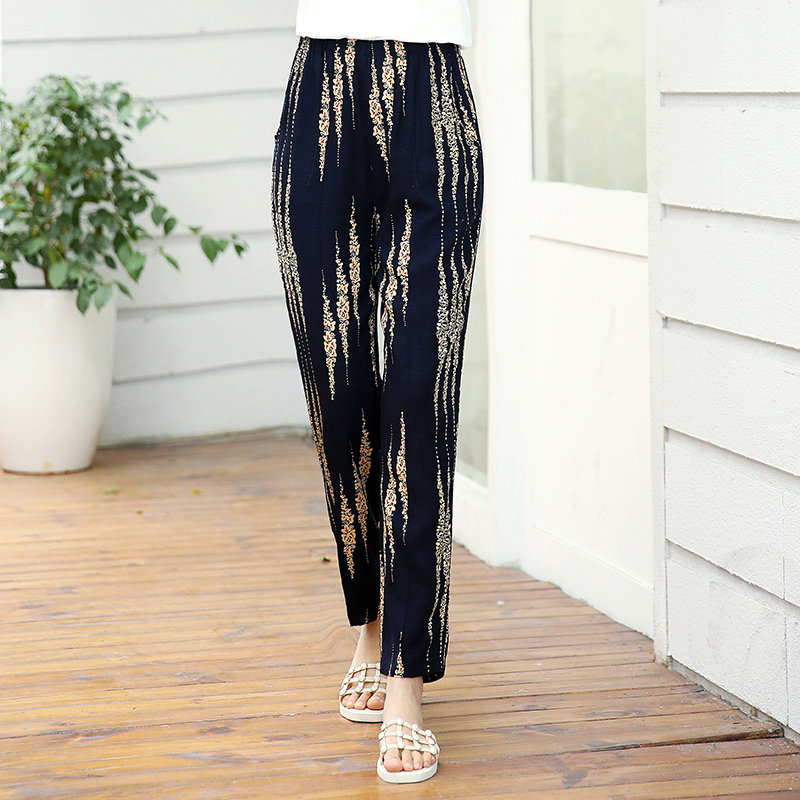 XL-5XL Plus Size Casual Middle-aged Women Trousers 2019 Summer Ankle-Length Harem Pants Fashion Striped Print High Waist Pants 1