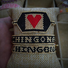 Go2boho MIYUKI Beads Bracelet CHINGONA-Power Letter Pulseras Mujer Moda 2019 Heart Bracelet For Women Jewelry Handmade Design classic heart letter a bracelet for women