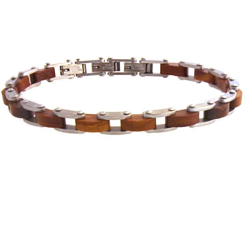 Runda 2020 Summer Fashion Real Wooden Bracelet for Men Jewellery Stainless Steel Bangles