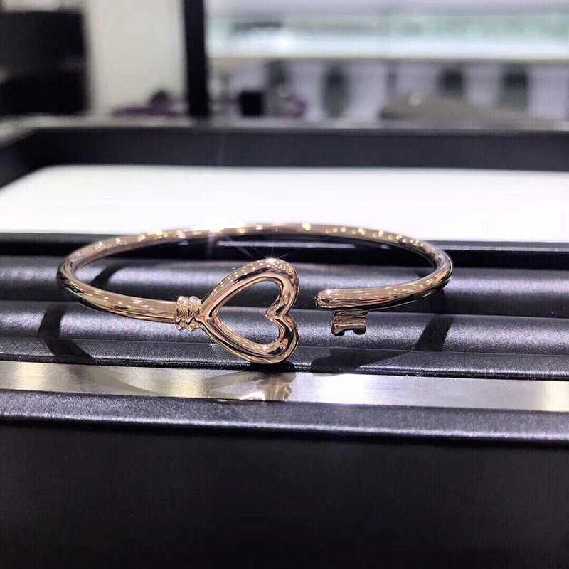 Femmes bracelet 925 bijoux en argent Sterling en forme de coeur ouverture argenterie Couple clé bracelet accessoires saint valentin cadeau - 6
