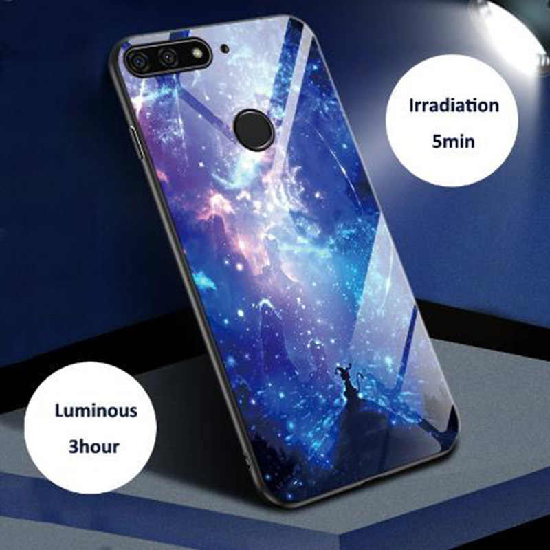Luminous Noctilucent Tempered Glass Back Case For Huawei P20 P30 Pro Lite For Mate 10 20 Pro X Nova 2S 3 3i 4 5 Silicone Bumper