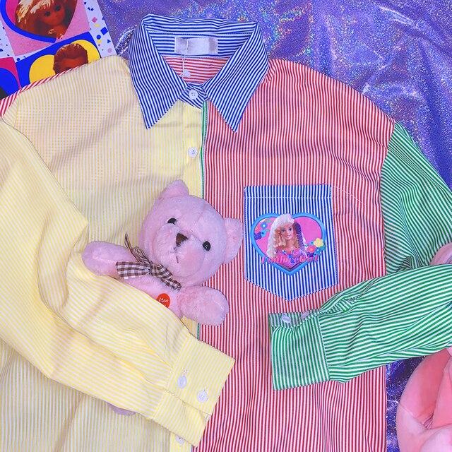 New Autumn Long-sleeved Striped Women Shirt Loose Cartoon Print BF Style Shirt Female Harajuku Sweet Hit Color Blouse Mujer 4