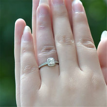 Europe And America Sona Diamond Ring 2 Karat Princess Baguette Diamond Ring-Customizable Micro Zircon Women's Jewelry(China)