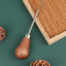 Drewniany uchwyt szydła DIY skórzany namiot szycie szydło buty narzędzie do naprawy ręcznie Stitcher Craft szydło dziurkacz narzędzie skórzane tanie tanio CN (pochodzenie) Wood + Stainless Steel