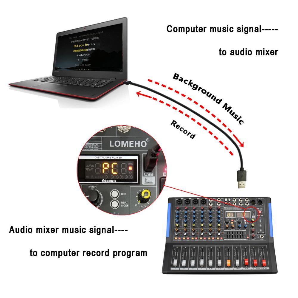LOMOEHO BIN-08 4 Mono + 2 Stereo 8 Kanäle Bluetooth Usb-schnittstelle Computer Rekord 48V Phantom Professionelle DJ Audio Mixer