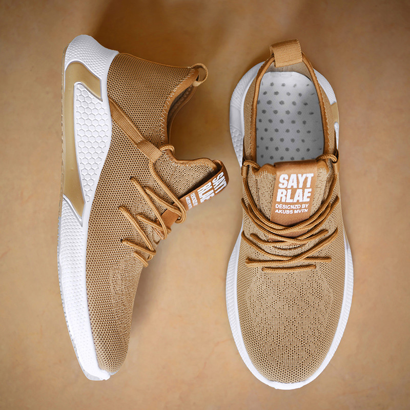 Spring And Summer Fashion Mens Casual Shoes Lace-Up Breathable  Sneakers Mens Vintage Shoes Brown Trainers Zapatillas Hombre