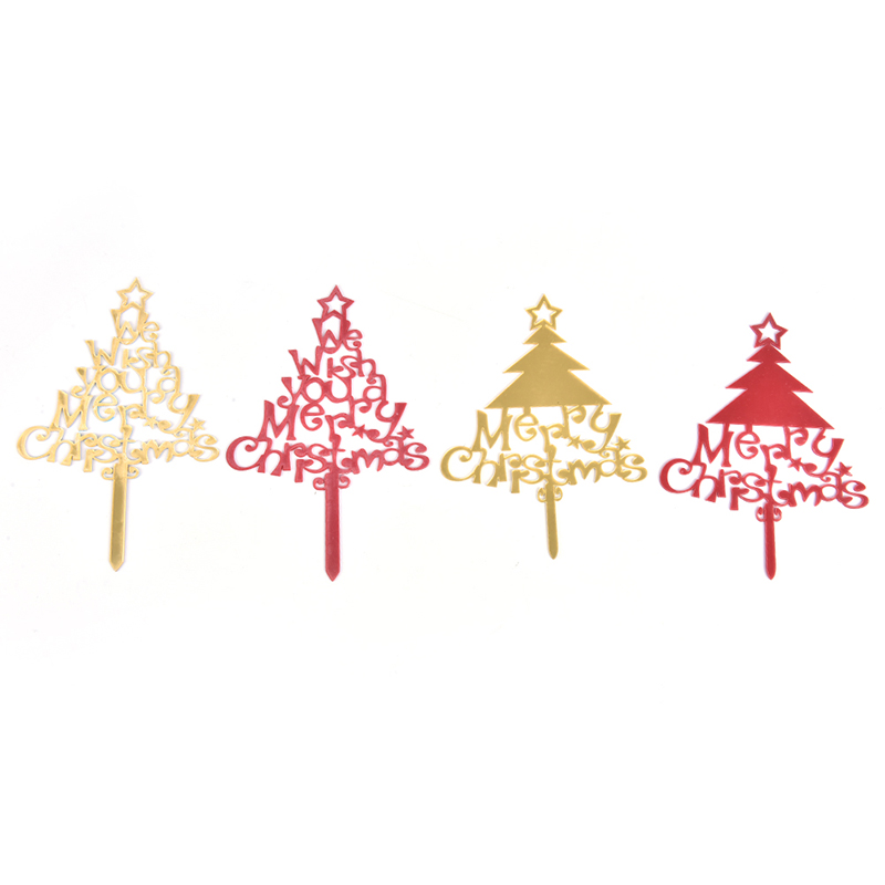 1pc Merry Christmas Cake Flag Topper Acrylic Cake Card Party Cake Decoration-2