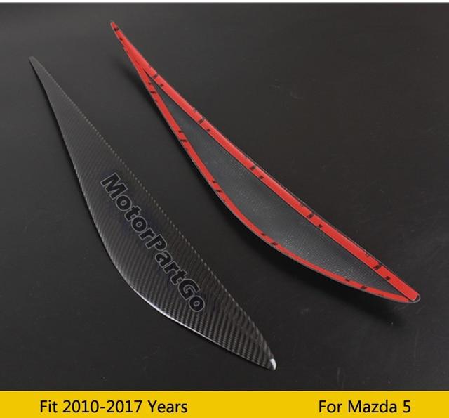 Real Crabon Fiber Head light Eyelid Eyebrow Cover Trim 1pair for Mazda 5 2010 - 2017  T205 2