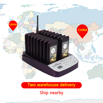 High quality Wireless Call Pager waterproof easy call 16 buzzers guest queuing system coffee shop coaster pager Spain