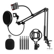 Microphone Stand,Mic Boom Arm with Adjustable Suspension Scissor Arm Stand Phone Holder,for Blue Snowball and Other Mics