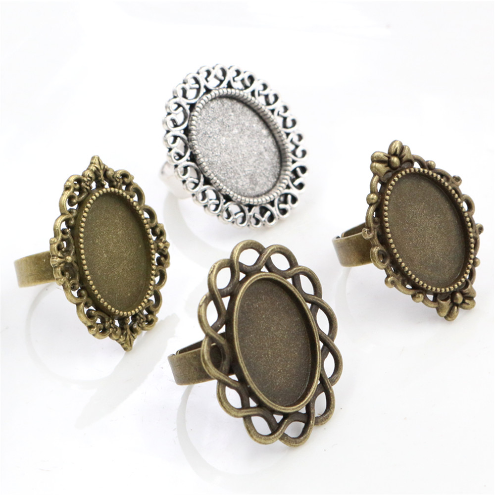 13x18mm 5pcs Antique Silver Plated / Bronze Plated Brass Oval Adjustable Ring Settings Blank/Base,Fit 13x18mm Glass Cabochons