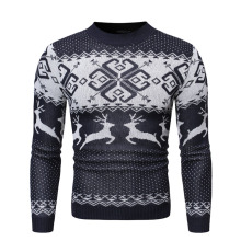Men's Sweater Winter Pullover Snowflake Animal Print New Year Tops Red Christmas Deer Sweaters Men Blue Casual Knitted Jumper