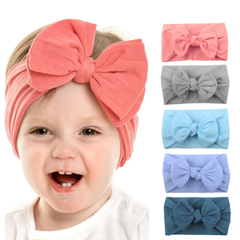 Newborn Toddler Headwear Soft Bow Knot Baby Headband For Girls Elastic Solid Hair Accessories Nylon Hair Ties for 0-2Y 2pcs chiffon flower baby headband headwear nylon elastic solid soft bow knot baby headbands for girls newborn hair accessories