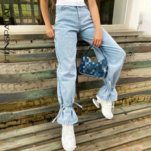 Women's Jeans Cowboy-Pants High-Waisted Trendy Solid-Color Casual Fashion Autumn All-Match