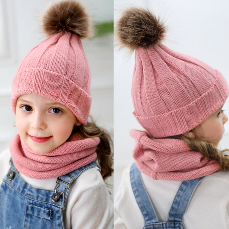 2 Pieces Set New 2019 Winter Toddler Baby Keep Warm Solid Hat Kids Girls Boys Knitted Scarf+Beanie Hats