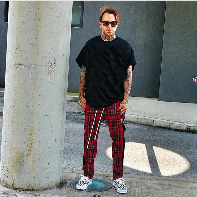 Vintage Scottish Plaid Joggers Pants Mens Tartan Track Pants Drawstring Ankle Strap Zip Patch Sweatpants Hip-hop 3