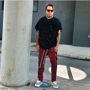 Image 4 - Vintage Scottish Plaid Sweatpant Justin Bieber Tartan Track Pants Mens Drawstring Ankle Strap Zip Patch Hip hop Jogger for Men
