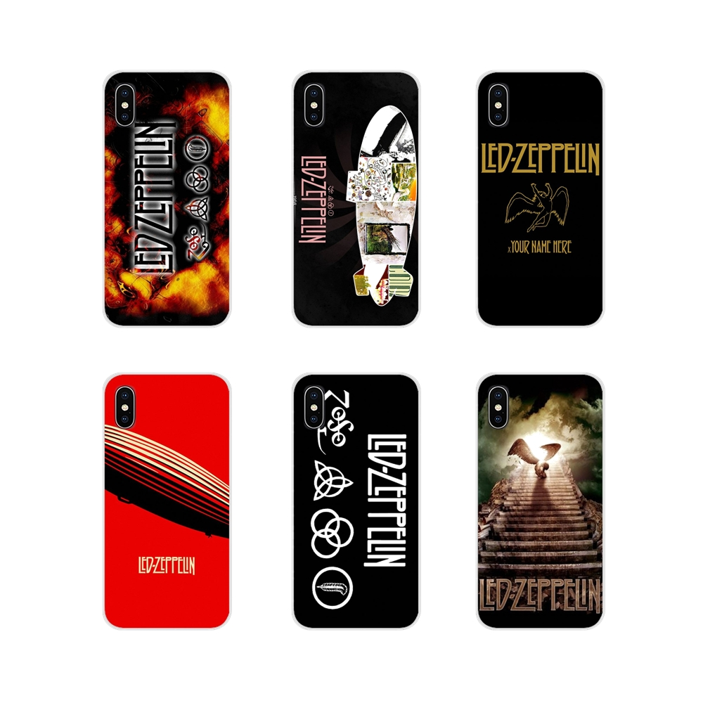 For <font><b>Samsung</b></font> Galaxy S3 S4 S5 Mini S6 S7 Edge S8 S9 <font><b>S10</b></font> Lite Plus Note 4 5 8 9 Rock Band <font><b>Led</b></font> Zeppelin Transparent Soft <font><b>Case</b></font> Covers image