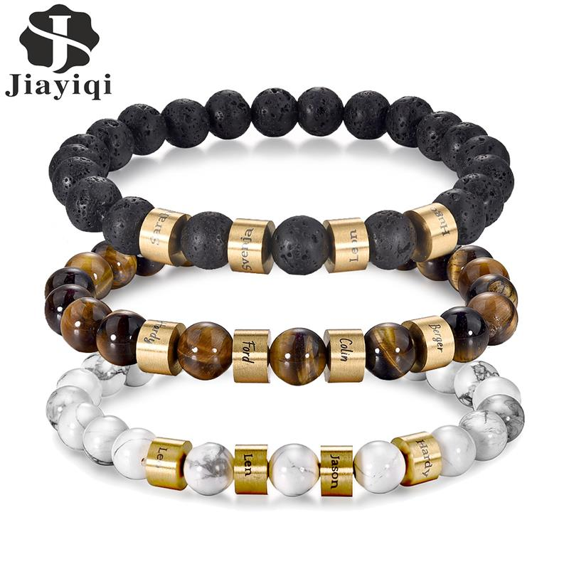 Natural Stone Beaded Bracelet for Men Women Fashion Stainless Steel Beads Bangle Lava Tiger Eyes Yoga Jewelry Accessories Gifts