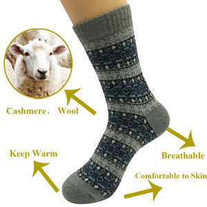 Image 5 - 5 Pairs/Lot Wool Socks Men Winter Warm Cashmere Comfortable Long Crew Casual Bohemian Sock Male Gift for Husband Father 4 Styles