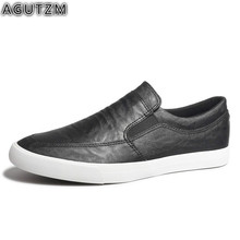 цена на Brand Leather Men Casual Shoes Fashion Sneakers Footwear Soft Rubber Male Flats Shoe black Mens Shoes Sales Man Designer m8