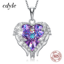 Cdyle Fashion Women 925 Sterling Silver Necklace with Purple Crystal Angel Wings Heart Pendant Necklace Birthday Party Gift
