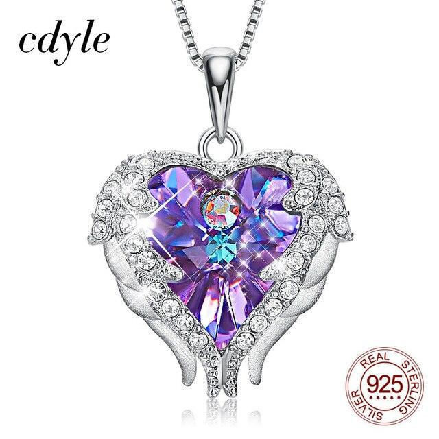 Cdyle collar con colgante de corazón y alas de Ángel para mujer, de Plata de Ley 925 con Cristal púrpura, para fiesta de cumpleaños