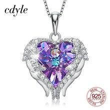 Cdyle moda kadınlar 925 ayar gümüş kolye mor kristal melek kanatları kalp kolye kolye doğum günü partisi hediye