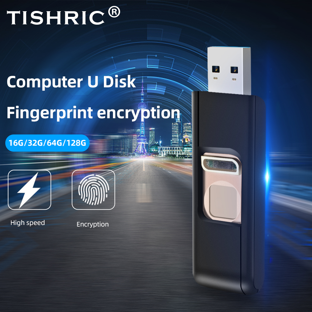 TISHRIC 16/32/64/128G USB Flash Driver Push-pull Fingerprint USB 3.0 Flash Drive Memory Stick USB Disk Stick Pen Drive Encrypted