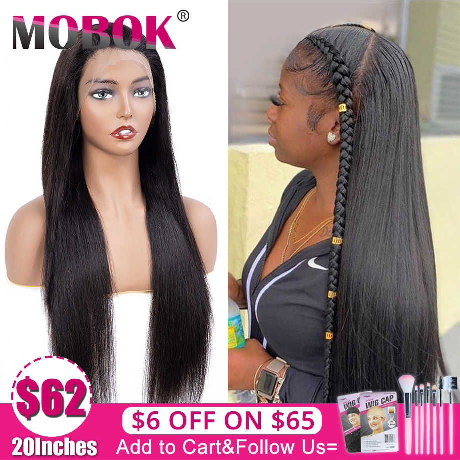 MOBOK 360 Lace Frontal Human Hair Wigs Wig with Pre Plucked Hairline with baby Brazilian Straight Lace Frontal Wigs For Women