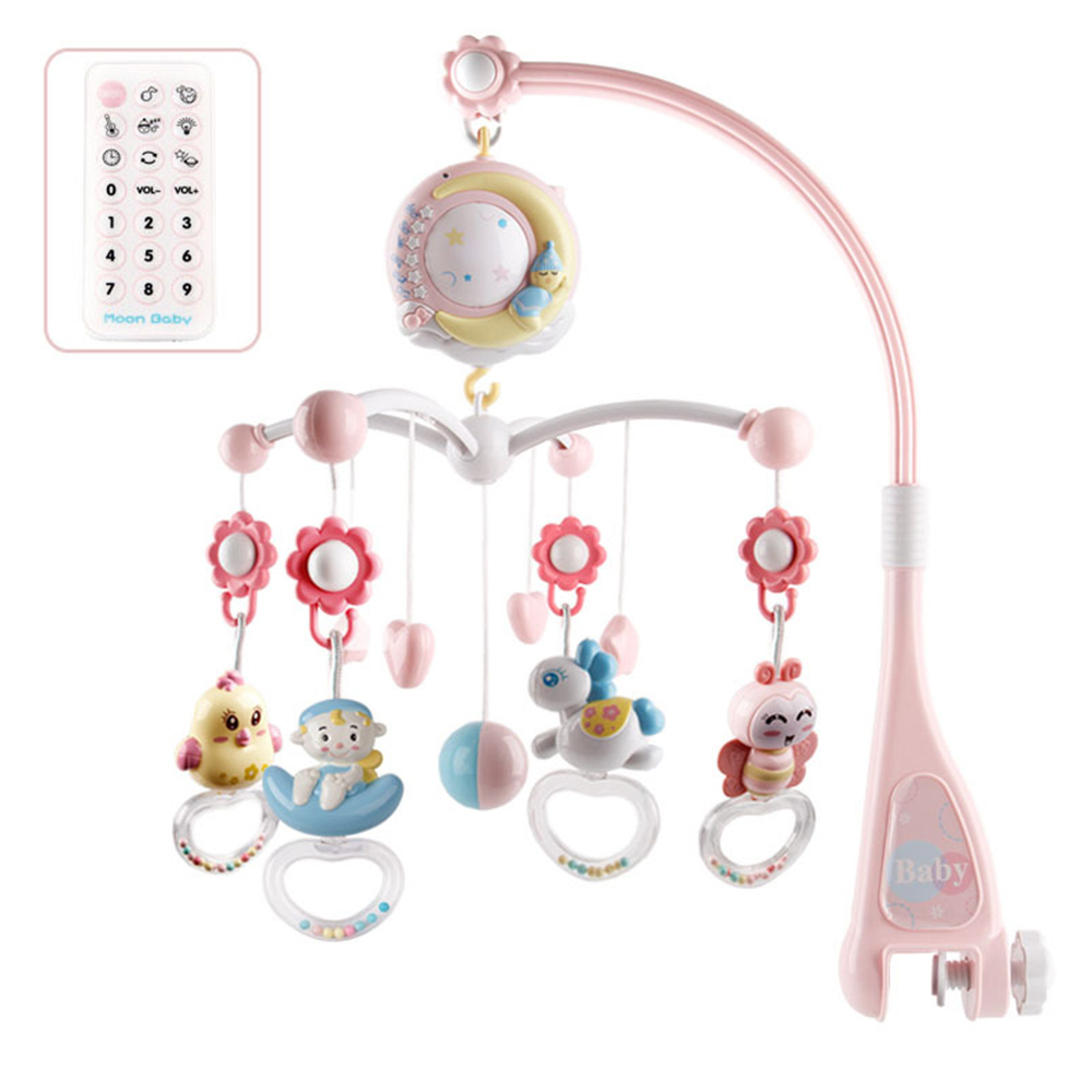 Baby Hanging Rattles Mobiles Toy Holder Rotating Crib Bed Bell With Music Box Projection For 0-24 Months Newborn Infant Baby Toy