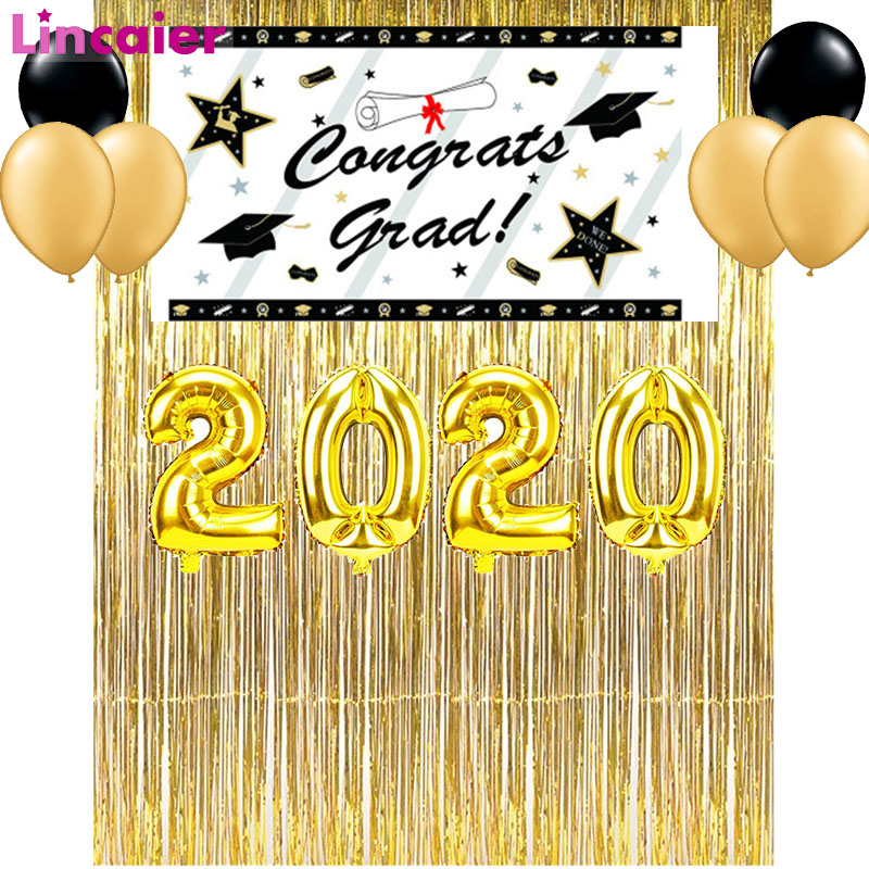 Tinsel Curtains 2020 Graduation Party Decoration Class Photo Booth Props Bachelor Cap Grad Congrate Graduated Supplies