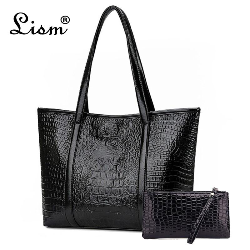 Women's Bag Large-capacity Crocodile Pattern Handbag 2019 New Brand Designer Design Lady Shoulder Bag Black Main
