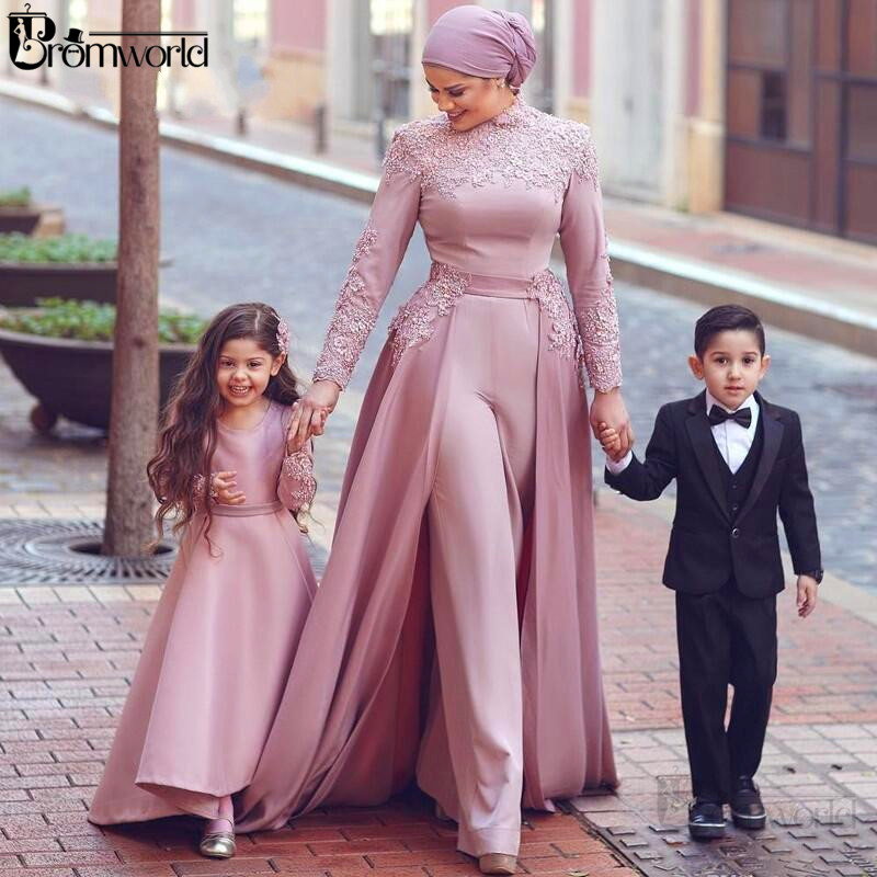 Elegant Blush Pink Arabic Muslim Jumpsuit Evening Dresses 2020 High Neck Long Sleeves Appliques Vestidos Formal Evening Gown