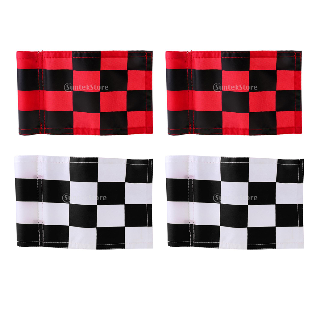 Pack Of 4pcs Golf Hole Pole Cup Flag Standard Putting Green Flags Marker Red/White Black